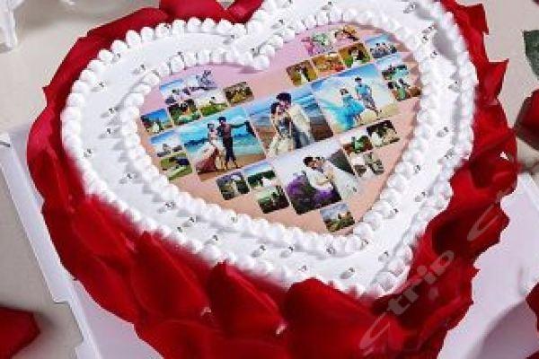仅售138元价值188元10英寸心形玫瑰花数码照片蛋糕