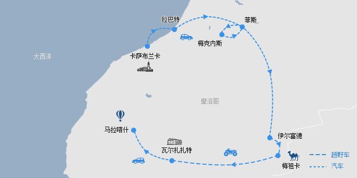 摩洛哥一地路线图
