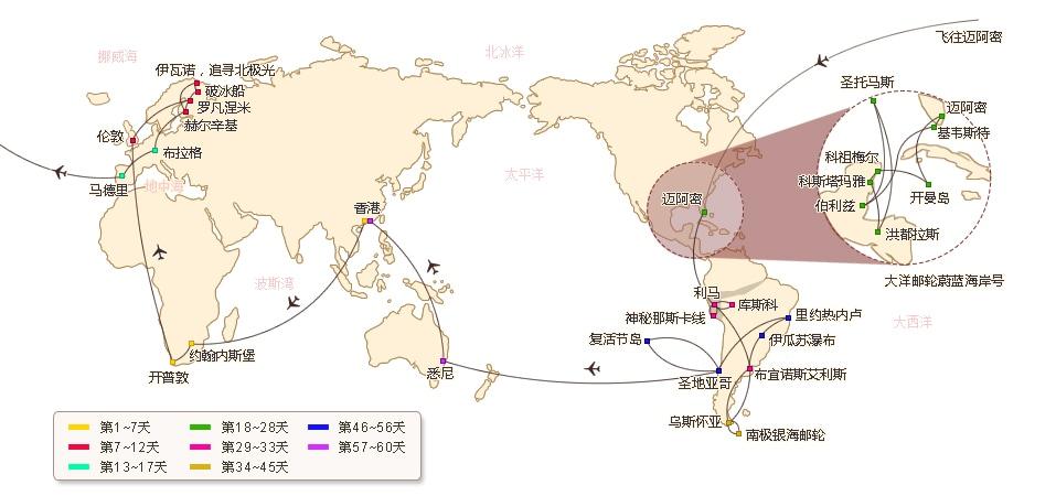 环游世界60天路线图