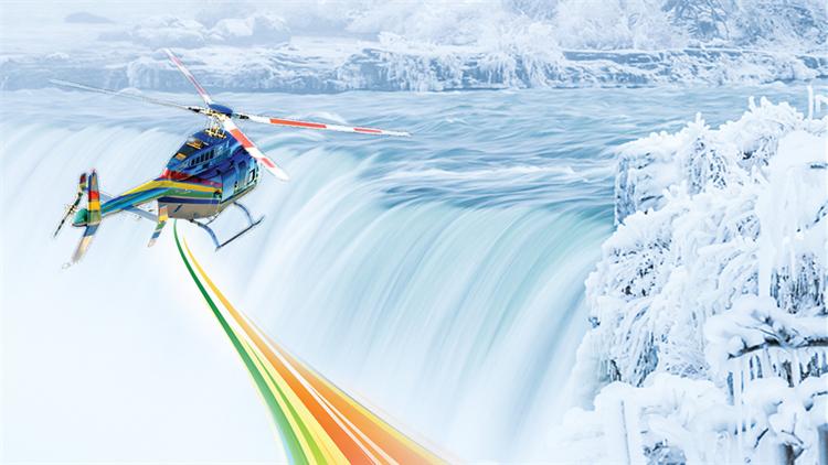 直升机纵观尼亚加拉大瀑布冬日奇景
