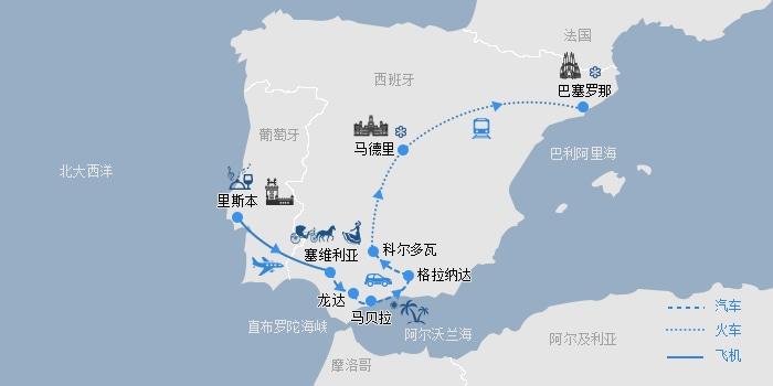 西葡线路图