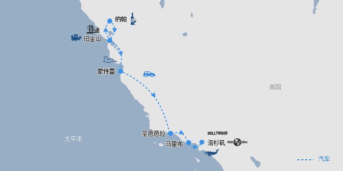 魅力加州·蔚蓝海岸线路图
