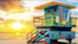 迈阿密海滩金灿灿的落日余晖