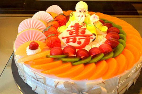 10寸欧式水果老人过寿蛋糕1个图片