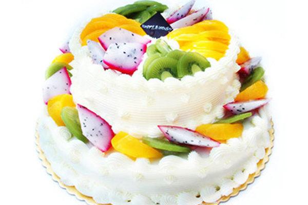 欧式双层水果蛋糕图片
