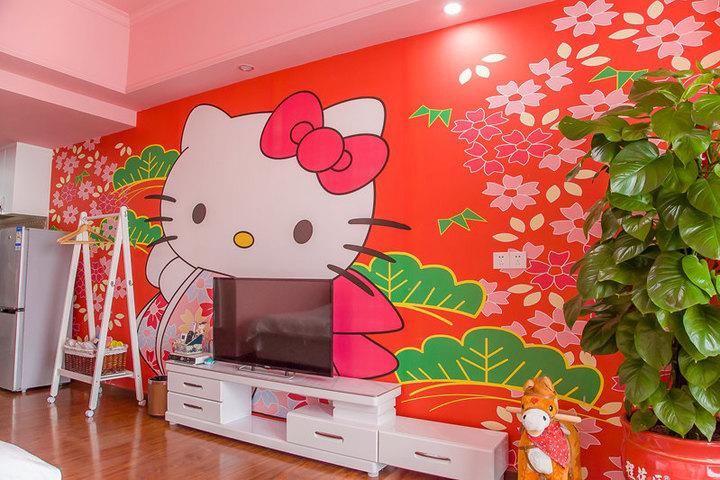 儿童动物总动员主题式酒店公寓-欢乐kt猫大床度假房