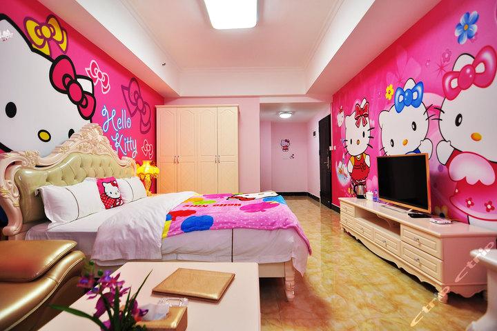 长隆儿童动漫主题式酒店公寓-hello kitty粉红大床房