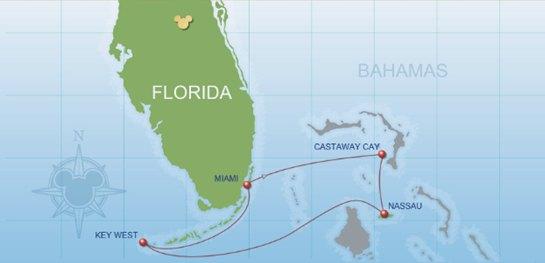 迪士尼邮轮魔力号 路线图