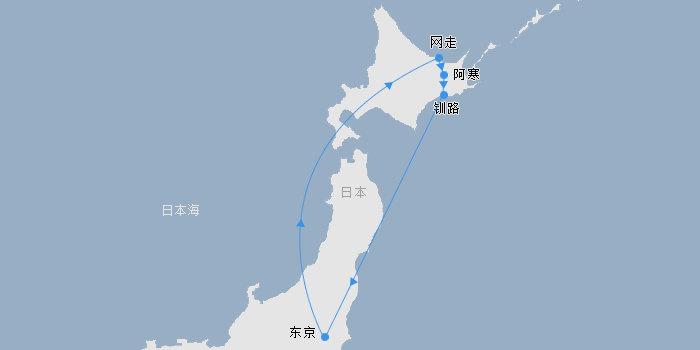 日本赏樱花讯之北海道独特芝樱+阿寒温泉+东京购物6天5晚路线图