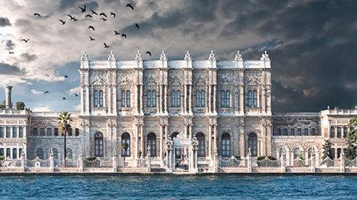 宫殿围墙全长达600米,内墙则铺满金箔,主体采用白色大理石及埃及雪花