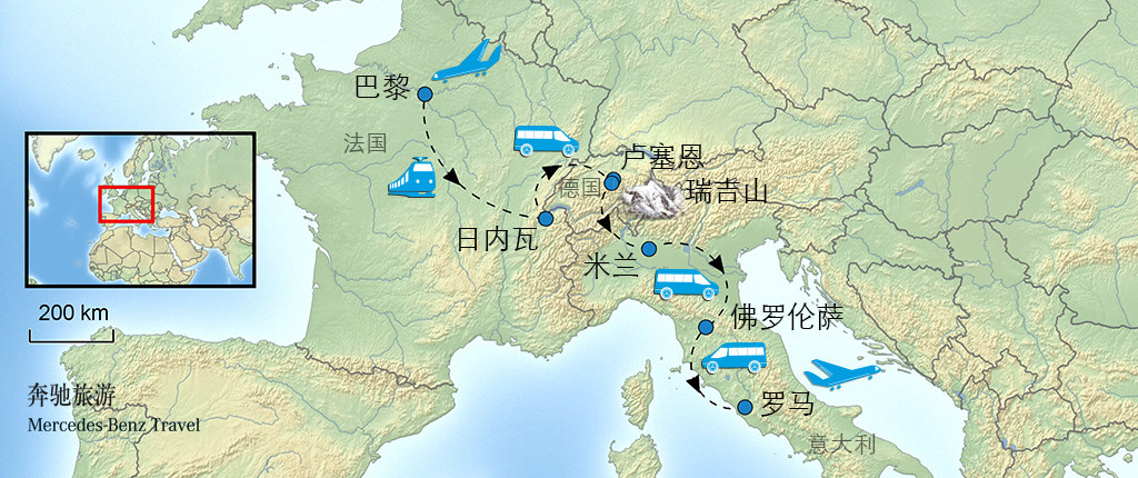 欧洲旅游手绘地图
