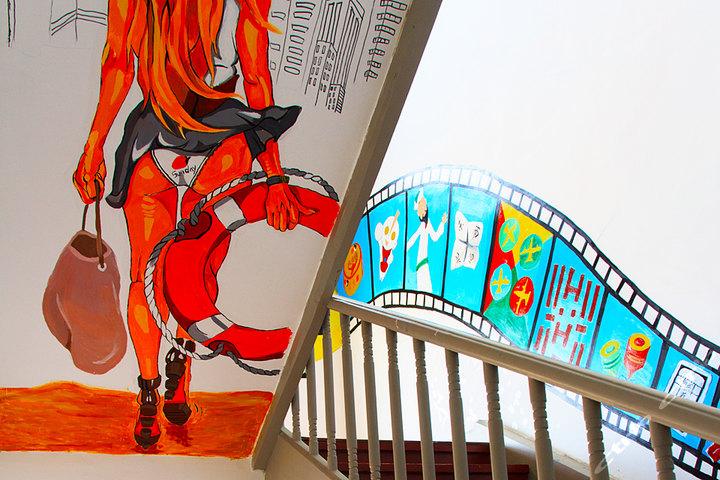青岛港湾37国际宾舍—酒店墙绘