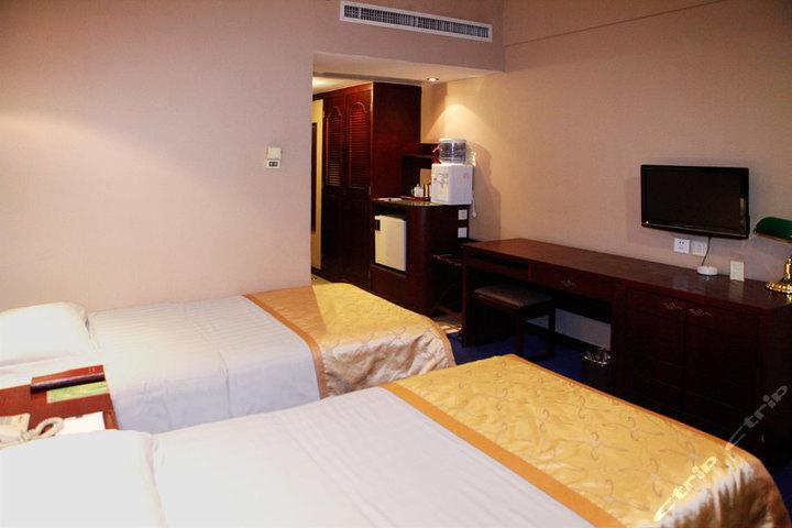 天津胜利宾馆标准双人间 美丽的风景画,暖黄色的灯光,桌面