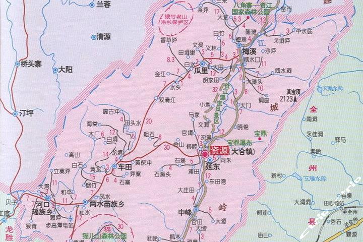 资江资源天门山一日游—地图